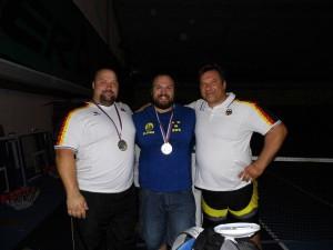 EM Bankdrücken 2013: Topathleten im Superschwergewicht ( l-r) : Kevin Koch , Fredrik Svensson und Wulf Kronemann