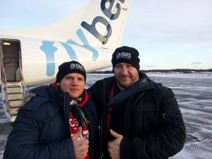 Sicher in Finnland gelandet: Sergej Moser mit seinem Schützling Andrej Mostovenko