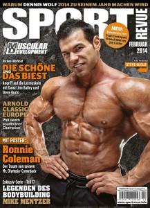 IFBB-Pro Steve Kuclo auf der Titelseite der Februar-Ausgabe der Sportrevue