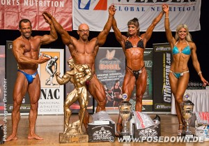 Die Gesamtsieger der Int. Deutschen Meisterschaft 2014 Michael Anders (Athletik) - Marc Gollub (Bodybuilding) - Melanie Kuch (Figur) - Melina Matz (Shape)  Foto: NAC , posedown.de Jürgen Drescher